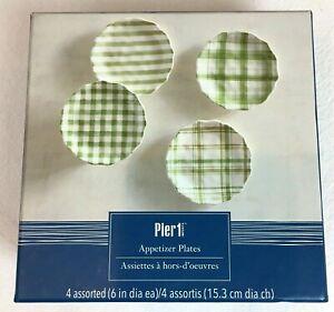 "Pier 1 Appetizer Plates 6"" Assorted Set Of 4 Green & White checker plaid stripe"