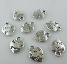 30pcs Best Friend Antique Silver Heart Charms Pendants Crafts Jewelry Making