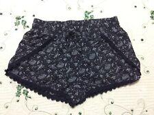 "Girl'S, Size Xs Petite, ""Aeropostale� Black & White, Lace Edged, Pajama Shorts"