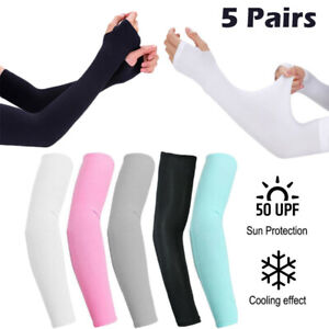 5 Pair Cooling Arm Sleeves Cover UV Sun Protection Outdoor Sports For Men Women