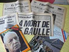 GAULLISME 5 JOURNAUX NOVEMBRE 1970  MORT DU GENERAL DE GAULLE  COLOMBEY
