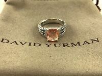 David Yurman Sterling Silver Petite Morganite & Diamond Wheaton Ring Size 6