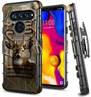 For LG V40 ThinQ Case Armor Phone Belt Clip Holster Kickstand Phone Cover