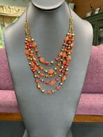 NINE WEST VINTAGE AMERICA Multi Strand  Red Orange Gold NECKLACE 22""