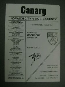 Norwich City v Notts County Football League Group Cup 1981/82 Programme