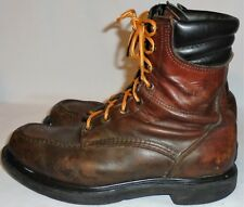 RED WING, # 402, MEN'S BROWN LEATHER  WORK BOOT SIZE 9 1/2 D, USA
