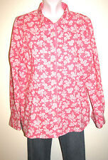 Boden Pink & White Floral Button Down Long Sleeve Cotton Shirt Size 18