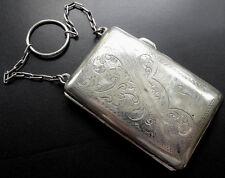 antique Edwardian EPNS SILVER foliage flower ring chain evening purse bag -A49