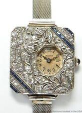 Platinum Diamond Sapphire Art Deco Watch Antique 1930s Mega Unique & Stunning