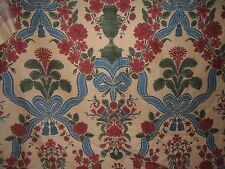 "Brunschwig & Fils ""Melzi"" hand print novelty BTY color red and blue on almond"
