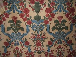 Brunschwig & Fils, Melzi, Hand Print Novelty,  BTY, Clr Red and Blue on Almond