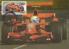 Set of 2 maxicards + 1 FDC Formula 1 Fangio Schumacher 2008 Bulgaria Ferrari car