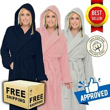 LUXURY EGYPTIAN COTTON HOODED BATH ROBE UNISEX DRESSING SPA GOWN TERRY TOWELLING