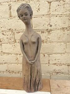 """Tall Stunning """"Lady Waiting"""" Clay Sculpture - 45cm"""