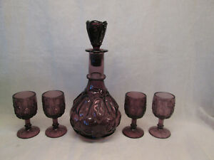 Moon and Stars Pattern Glass Amethyst Purple Decanter Stopper Bottle & 4 Goblets