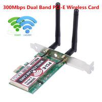 Wireless Wifi Network Card Mini PCI-E 2.4 & 5GHz Desktop Adapter + 2 Antennas LJ