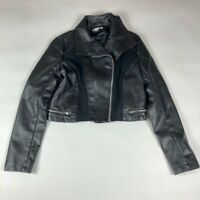 New York & Company Womens Faux Leather Crop Moto Jacket Black Asymmetric Zip S