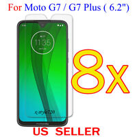 """8x Clear LCD Screen Protector Guard Cover Film For Motorola Moto G7/G7 Plus 6.2"""""""