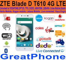 "New ZTE Blade D T610 5"" 4G LTE White Phone Unlocked To: Optus*Voda*TPG*DODO*Amay"