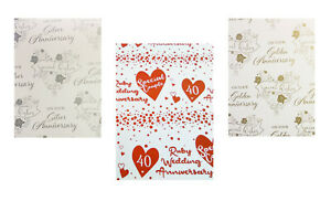 2 X WEDDING ANNIVERSARY WRAPPING PAPER + 1 TAG  SILVER, RUBY & GOLDEN  GIFT WRAP