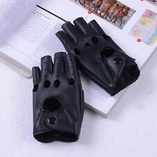 Women Lady Punk Faux Leather Fingerless Mittens Hollow Out Black Driving Gloves