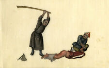More details for antique 19th-century chinese pith painting, torture scene: bastinado