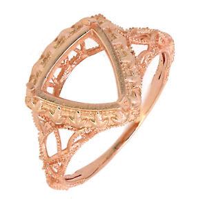Art Deco 14K Rose Gold Trillion 10x10 mm Semi-mount Ring Setting