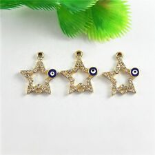 8pcs Gold Alloy Crystal Star Evil Eye Charms Pendant Jewelry Craft Findings