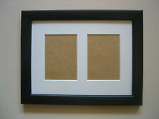 BLACK WOODEN DOUBLE ACEO/SCHOOL PICTURE FRAME WITH 2 HOLES,WHITE MOUNT