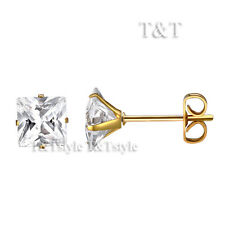 T&T S. Steel FLAT 4mm Clear CZ Square Stud Earring Gold Mens & Womens ES05J(4)