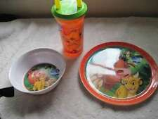 Disney's Lion King Small Melamine Snack Bowl Plate Kid's Sipper Straw Cup Simba