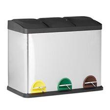 Relaxdays cubo de basura reciclaje 54 L con 3 compartimentos acero Inoxidabl...