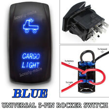 CARGO LIGHT Blue LED Toggle Rocker Laser Switch 5 PIN ON-OFF Boat Marine 12V 24V