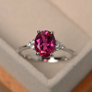 14K White Gold Diamond Ring 2.15 Ct Oval Cut Natural Ruby Wedding Rings Size N