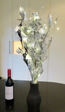 Silver Orchid Floral Display Black Vase 20 Warm LED Lights Xmas Wedding Lounge
