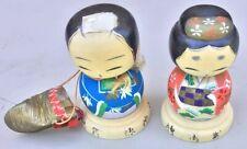 Vintage Japanese Wooden Kokeshi Dolls Kamakura Kimono Man Women 1950-60's   #42