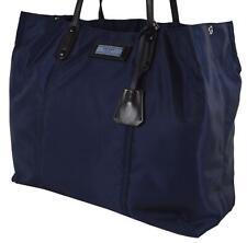 New Prada 1BG184 Dark Blue Nylon Black Leather Large Shopper Purse Handbag
