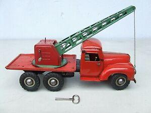 Großer B & S LKW aus Blech mit Uhrwerkantrieb - Kranwagen !