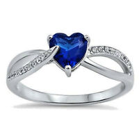 Heart Ring Sterling Silver 925 Jewelry Blue Sapphire CZ Face Height 6 mm Size 11