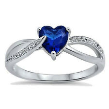USA Seller Heart Ring Sterling Silver 925 Best Jewelry Blue Sapphire CZ Size 7