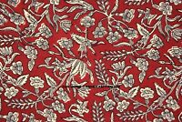 Cotton Voile Material Maroon Decorative Indian Hand Block Print Craft By 1 Yard