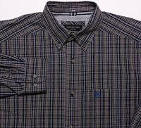 ARIAT Pro Series Long Sleeve Button Shirt Black Blue Plaid Large L