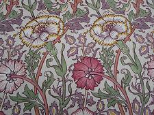 William Morris Curtain Fabric 'Pink & Rose' 1.6 METRES  Manilla/Wine Linen Blend