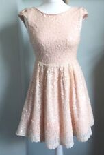 TOPSHOP Dress Up Blush Pink Sequin Skater Mini Dress Size 10 Deep V Back Party