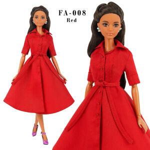 ELENPRIV FA-008 red dress-shirt for Barbie Pivotal Made-to-Move FR2 dolls
