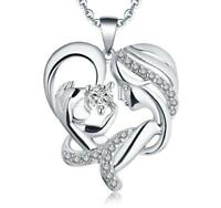 "S925 Sterling Silver Mom holding Baby Heart Pendant Necklace with 18"" Box Chain"
