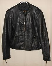 Cafe Motorcycle Jacket Genuine Leather Classic Biker Style Distressed Black 42