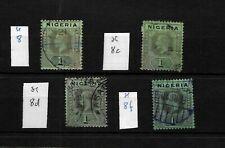 Nigeria, KGV 1914 mult crown four different 1/- varieties, used (N013)