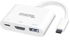 Plugable USB C to 4K HDMI Multiport Adapter, 3-in-1 USB C Hub