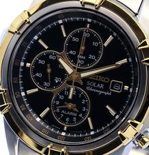 NEW MEN'S 2-TONE SEIKO SOLAR ALARM CHRONOGRAPH ANALOG SPORTS WATCH SSC142P1